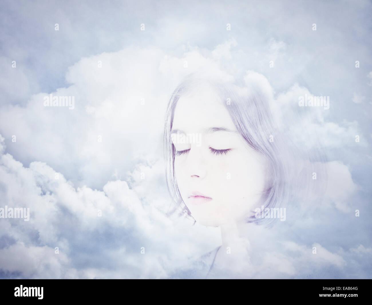 Gesicht in den Wolken. Digital Composite. Stockbild