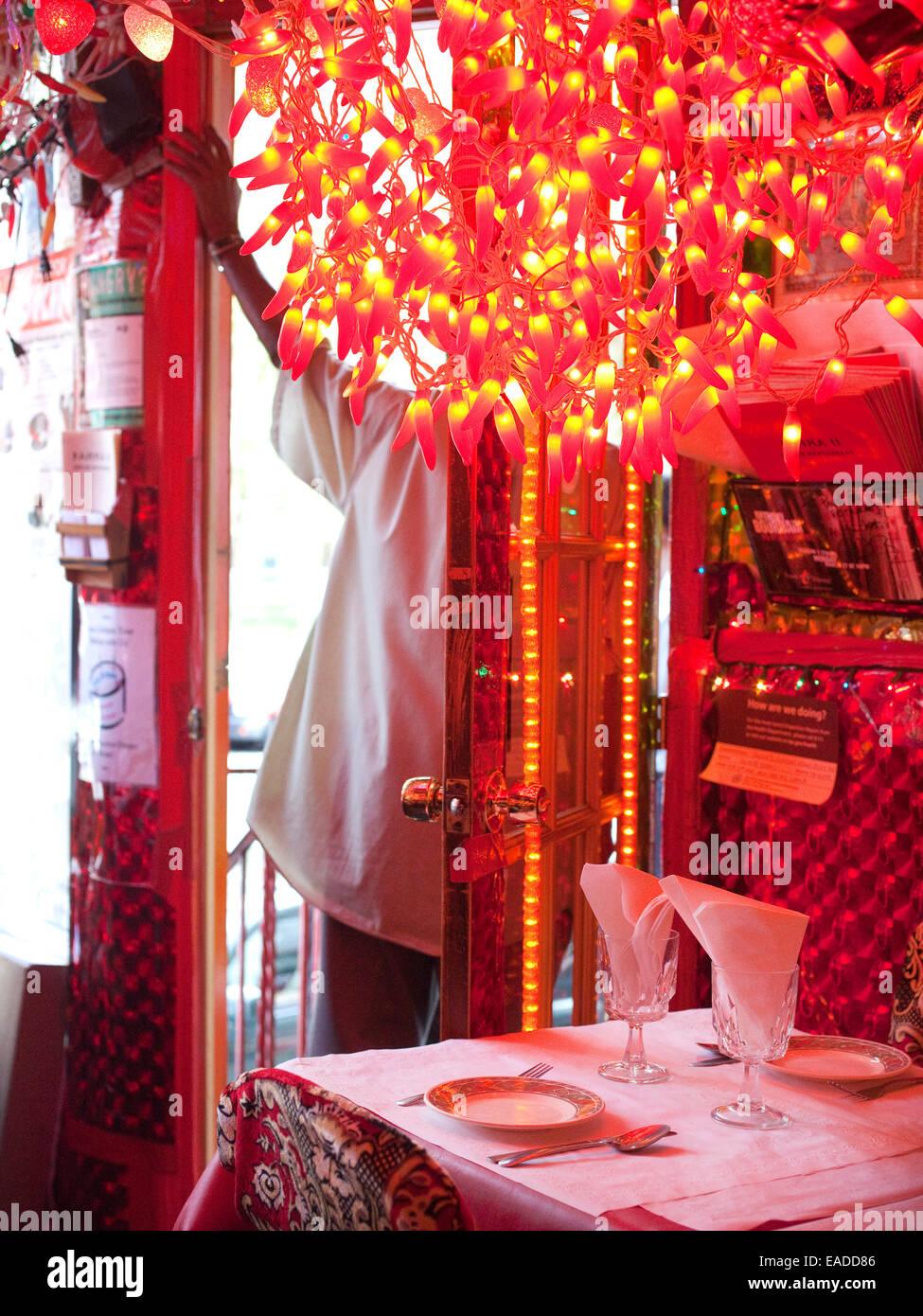 Innere des Indian Restaurant Stockbild
