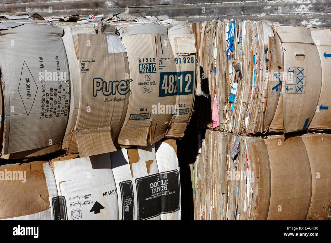 Ballen aus Pappe für das recycling von Saskatchewan Kanada Stockbild