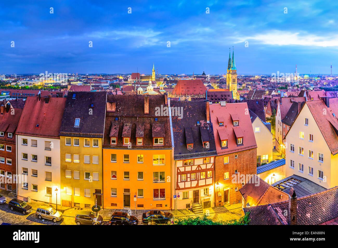 Nürnberg, alte Stadt Skyline. Stockbild