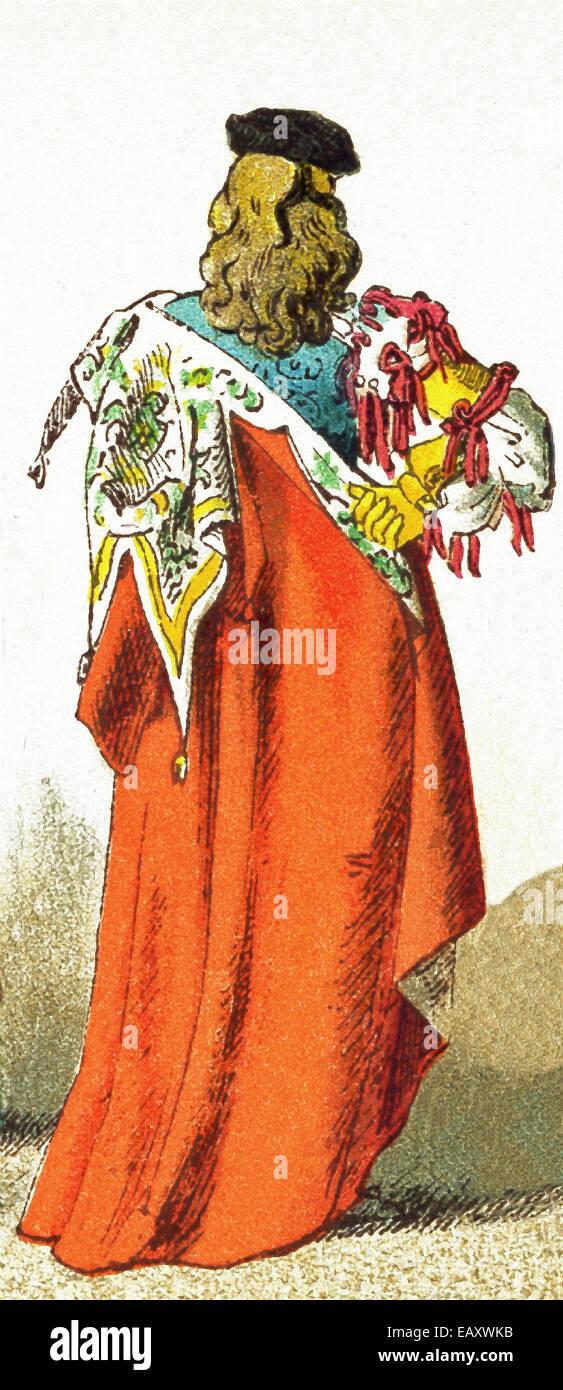 Die italienische Figur vertreten bis 1400 n. Chr. datiert und zeigt die Rückseite des traditionellen Outfit Stockbild