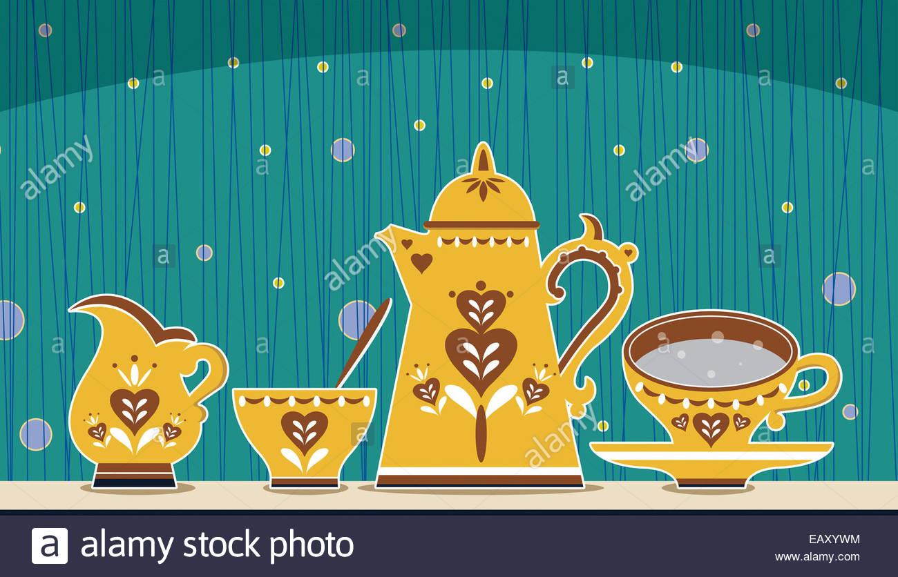 Retro Kaffee set Abbildung Stockfoto