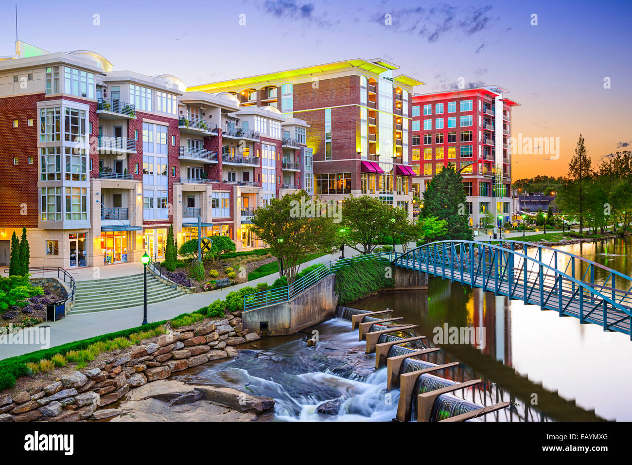 Greenville, South Carolina Stadt Stadtbild Stockbild