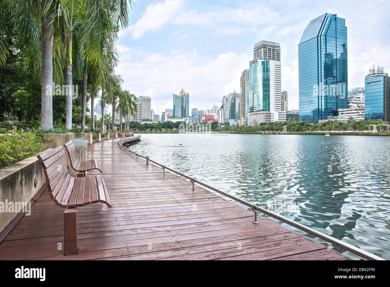 Blick auf die moderne Stadt von Bangkok, Thailand. Stadtbild Stockbild
