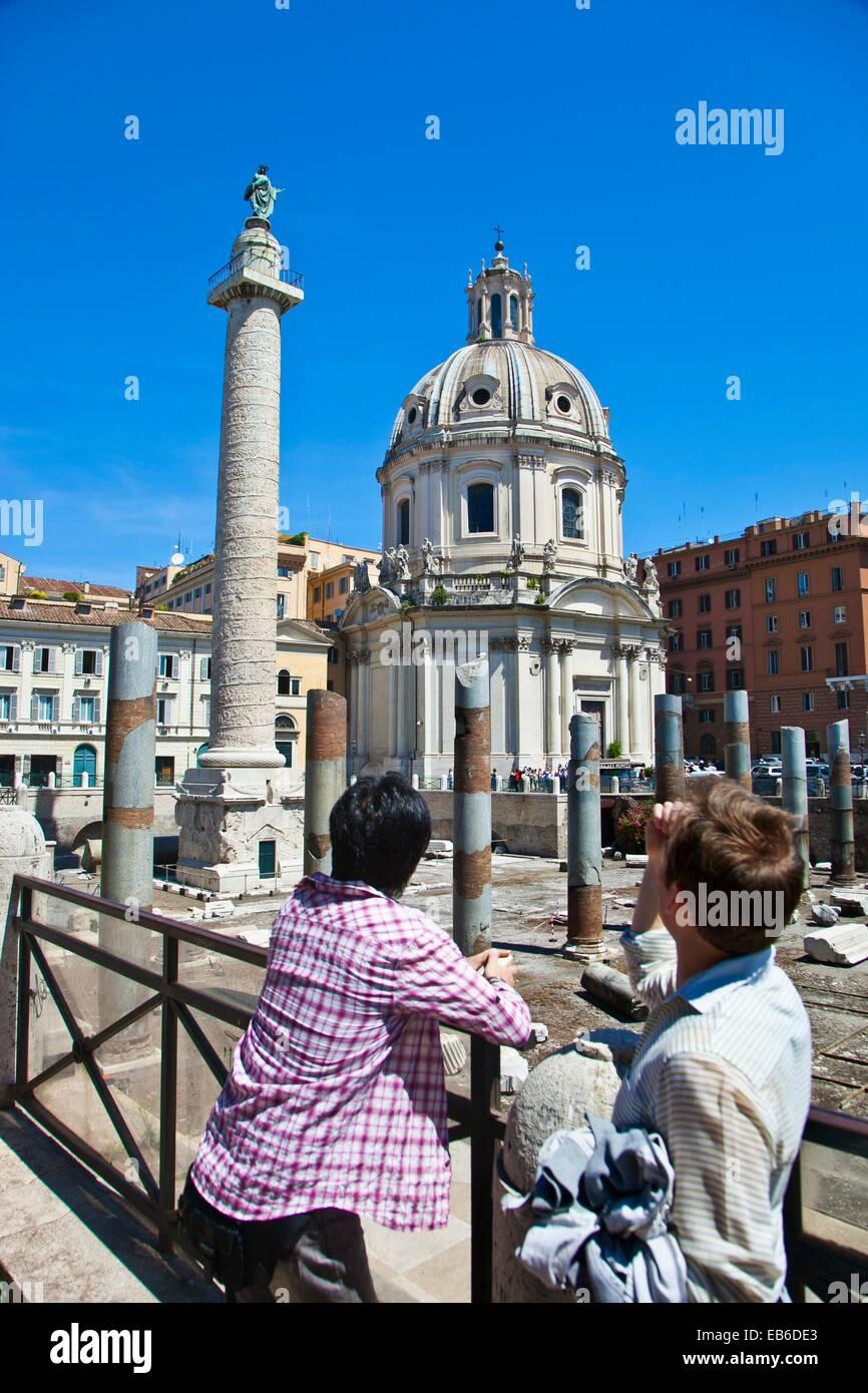 Trajan´s Forum und Trajan´s Spalte, Forum Romanum, Rom, Latium, Italien. Stockbild