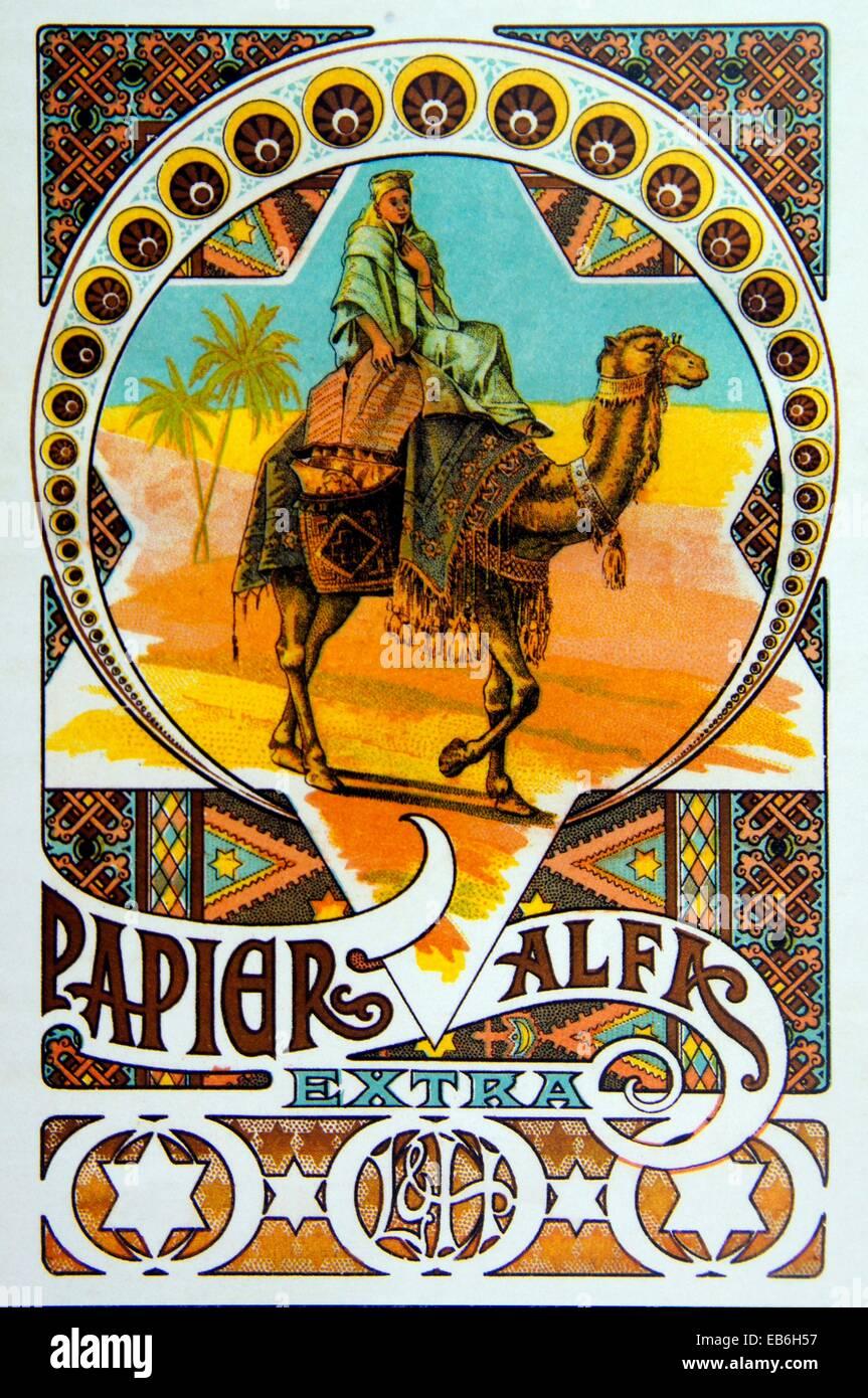 Zigarettenpapier ´Alfa´ Werbung (um 1900), Charente, Poitou-Charentes, Frankreich Stockbild