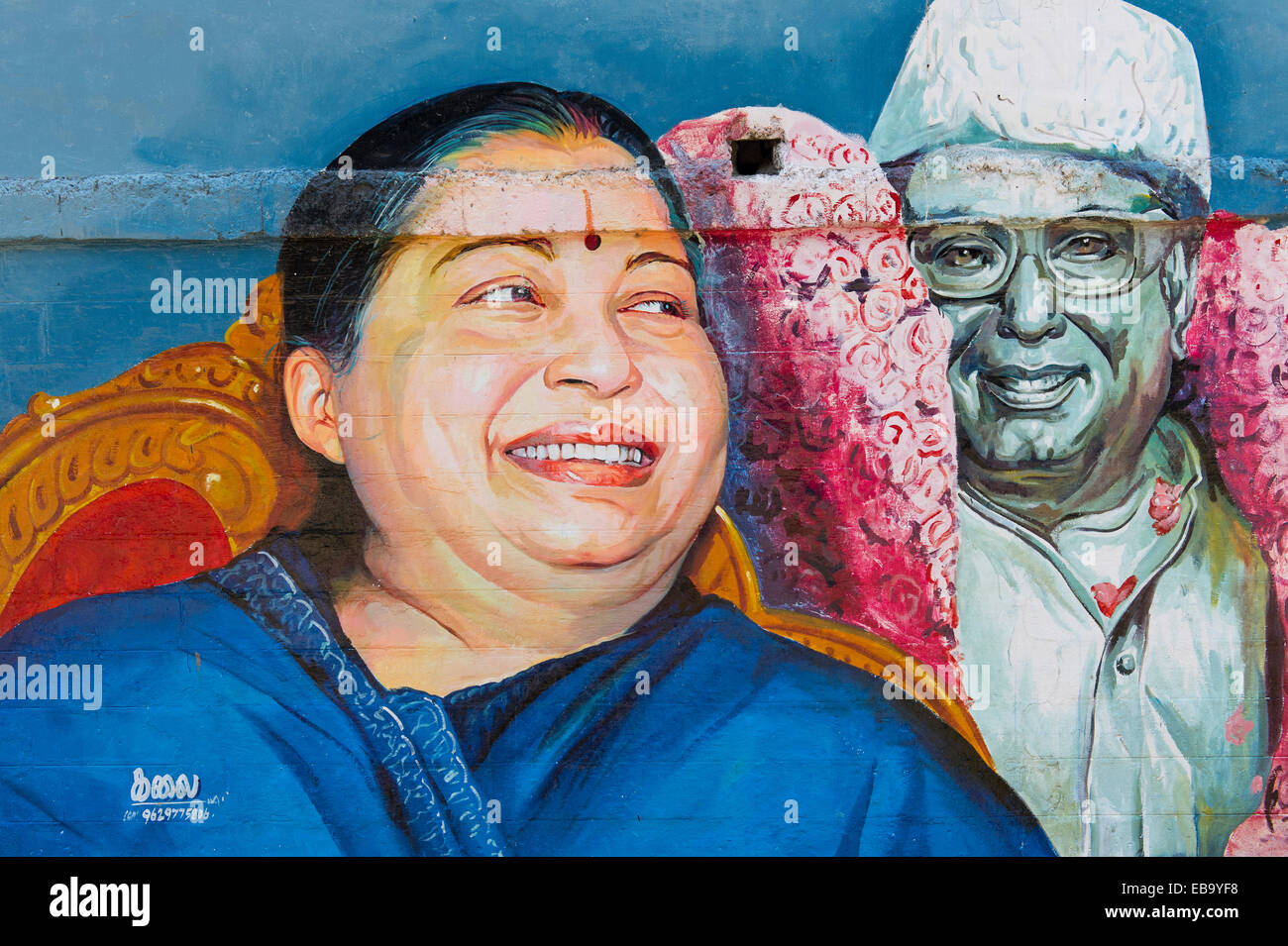 Wandmalerei, die Darstellung der Tamil Schauspielerin und Politikerin Jayalalithaa Jayaram, Madurai, Tamil Nadu, Stockbild