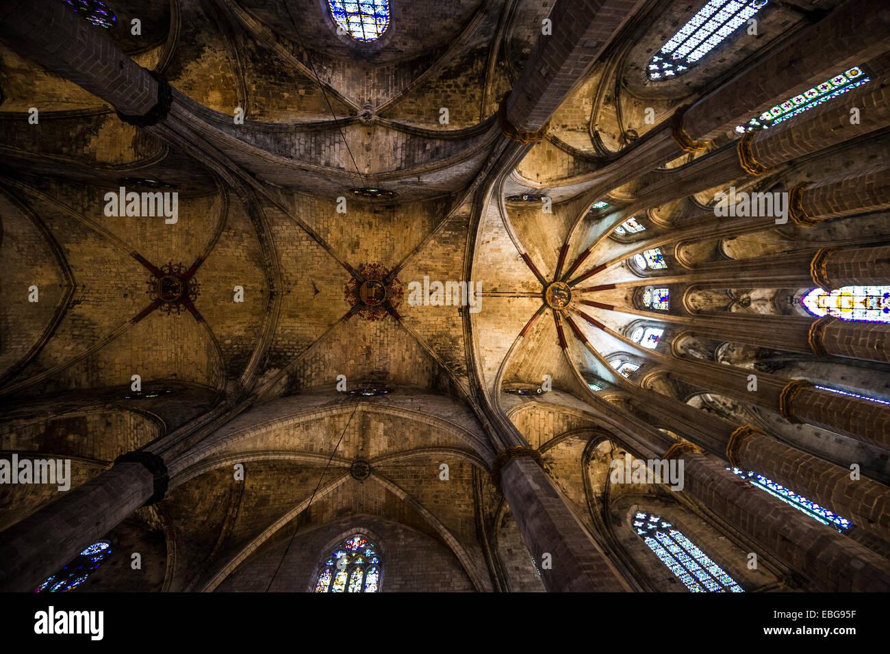 Eglesia de Santa Maria del Mar, El Born, Barcelona, Katalonien, Spanien Stockbild