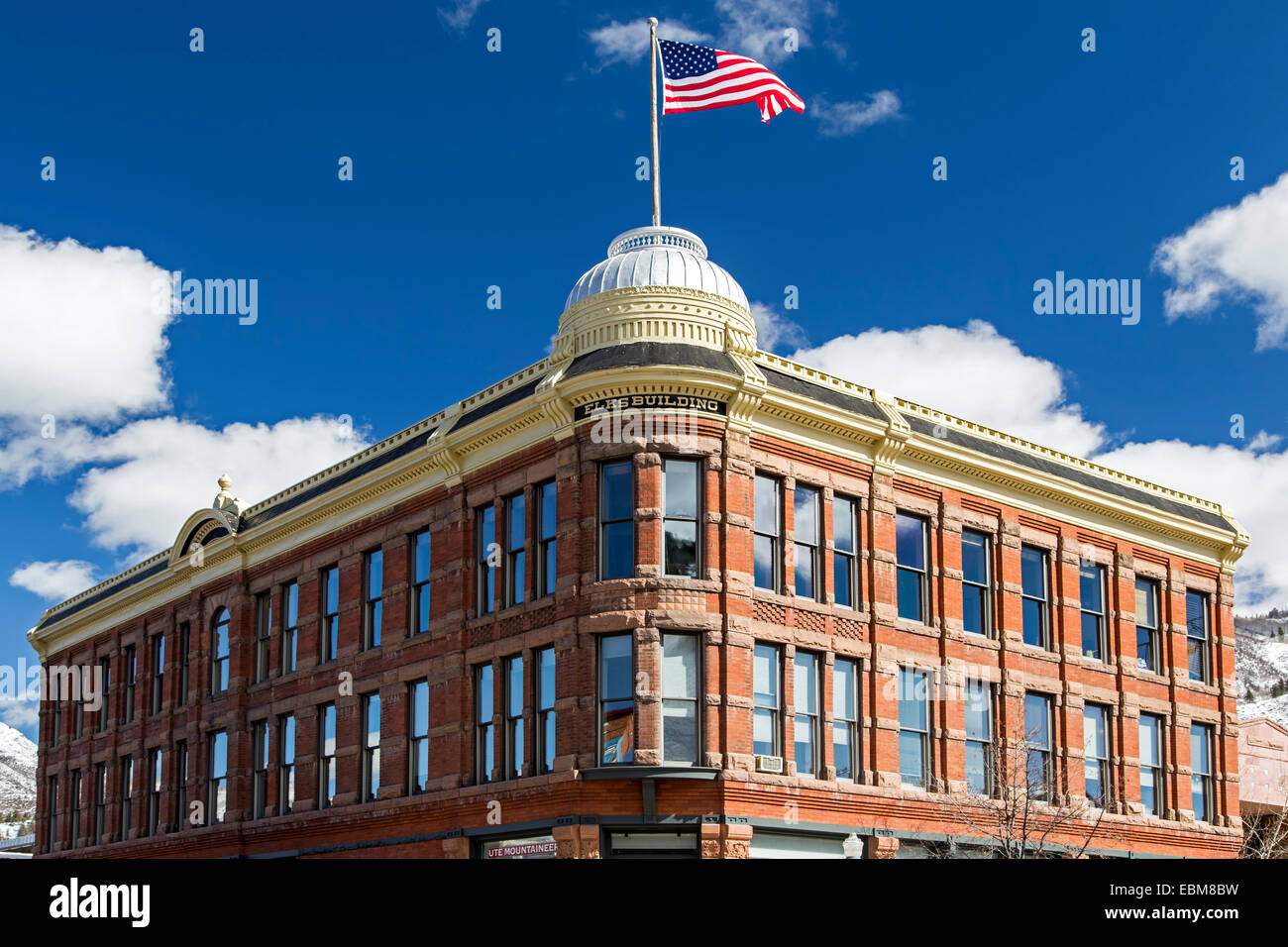 Historische Elche Gebäude, Aspen, Colorado USA Stockbild