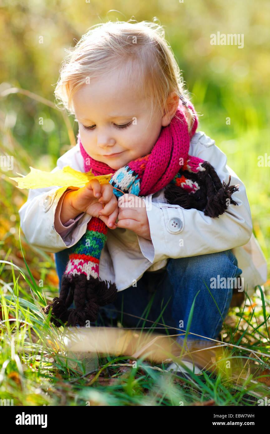 kleines Mädchen sammeln Herbst Blätter Stockbild
