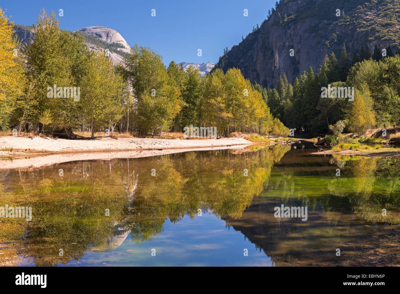 Herbstfärbung an den Ufern des Flusses Merced, Yosemite Valley, Kalifornien, USA. Herbst (Oktober) 2014. Stockbild