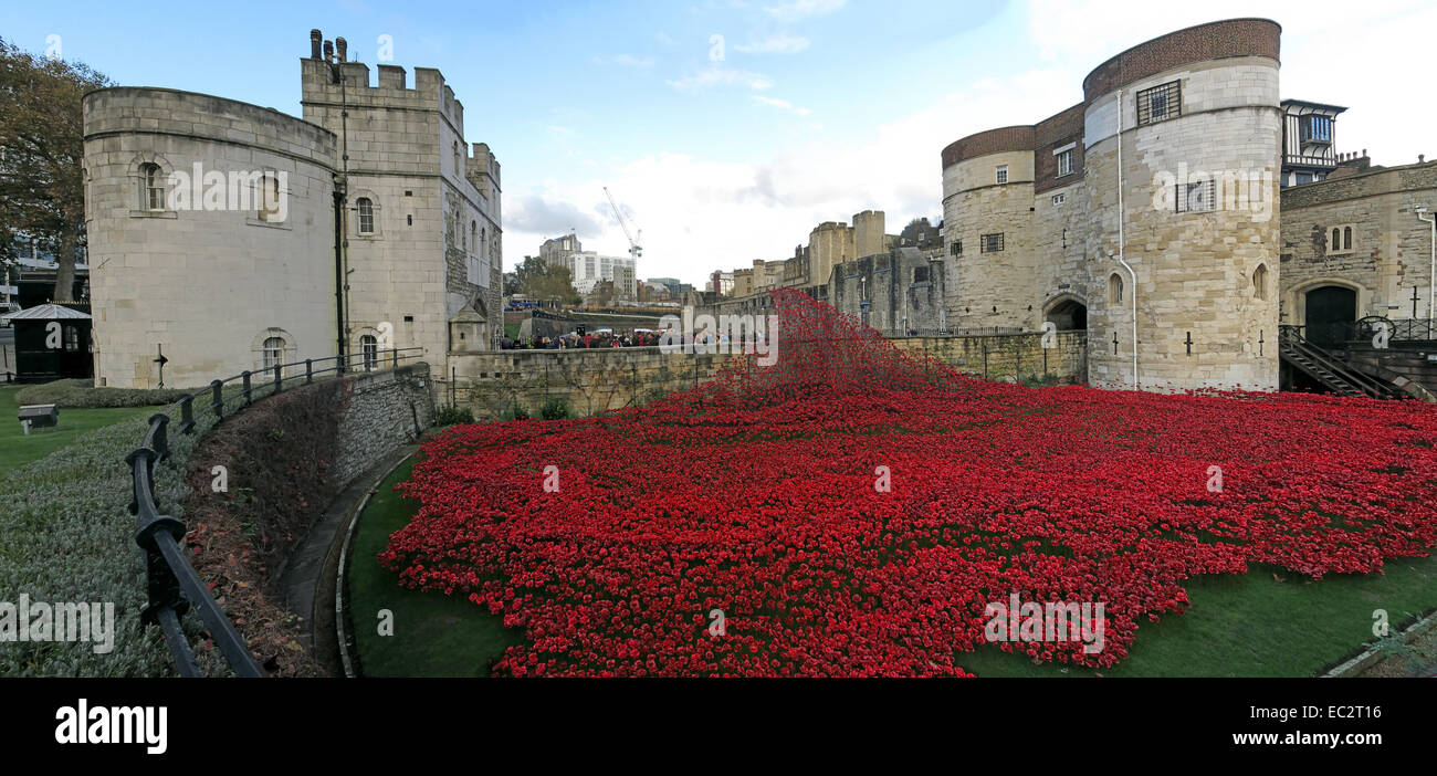 Laden Sie dieses Alamy Stockfoto Blut Mehrfrequenzdarstellung Länder und Meere von roten Mohnblumen, bei The Tower of London, England UK - EC2T16