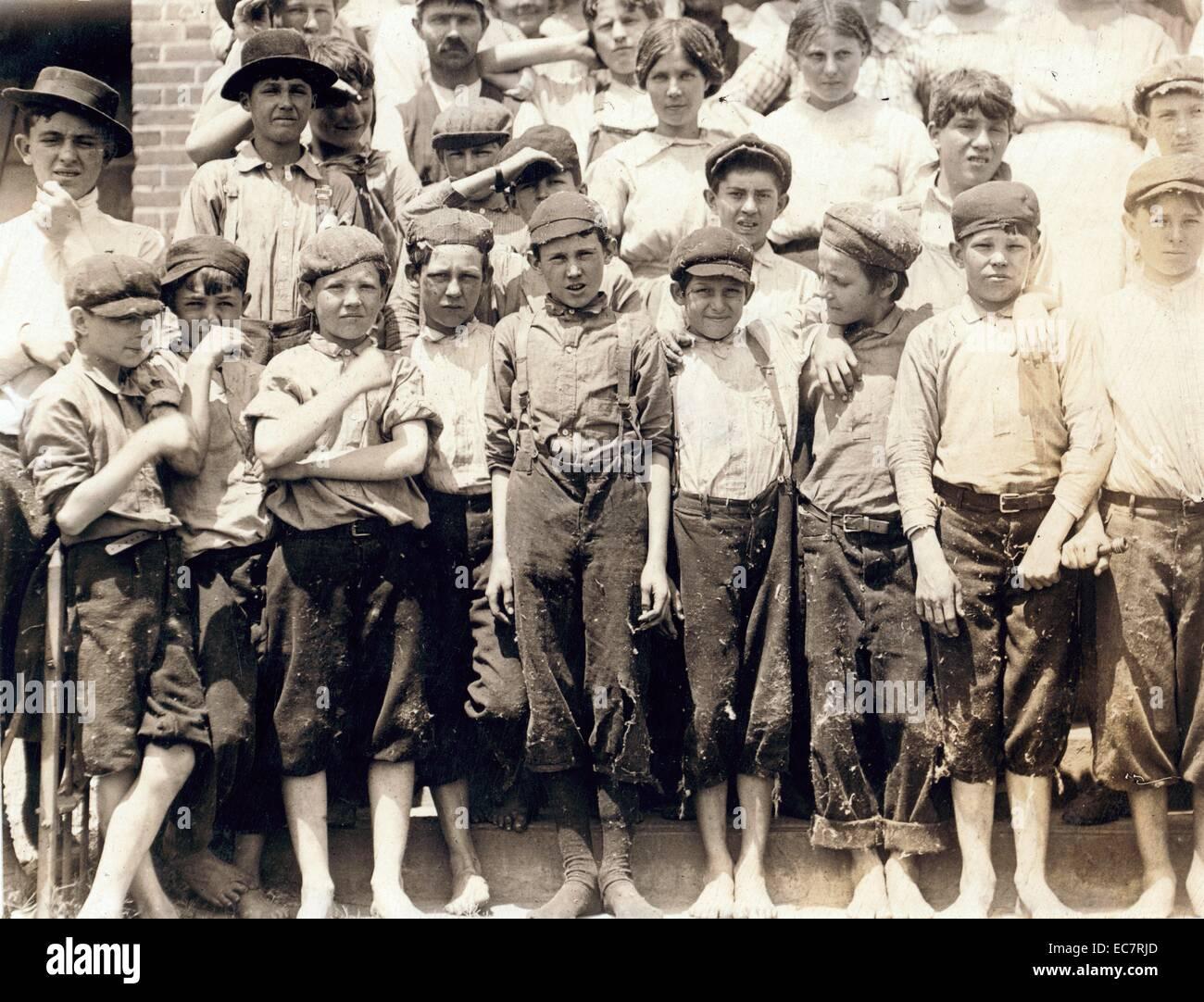 Gruppe von Kinderarbeitern in Moritas Mill; Columbus; Georgien. Stockfoto