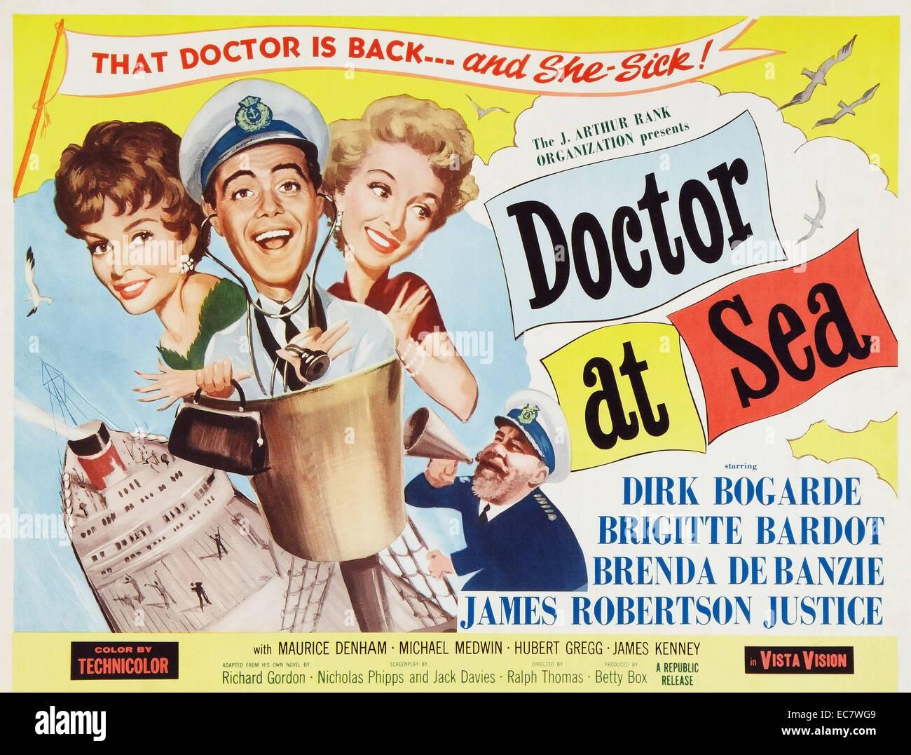 Arzt auf hoher See. Eine britische Filmkomödie von 1955 Stockbild