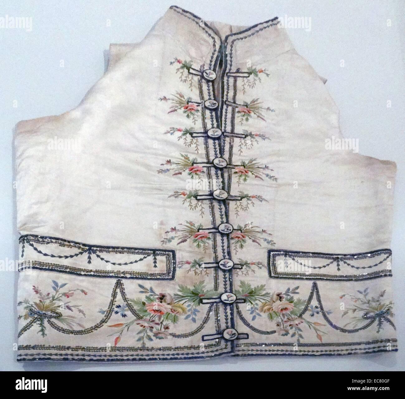Französische satin Weste ca. 1815. mit Metallgewinde, Seide und Pailletten verziert. Stockbild