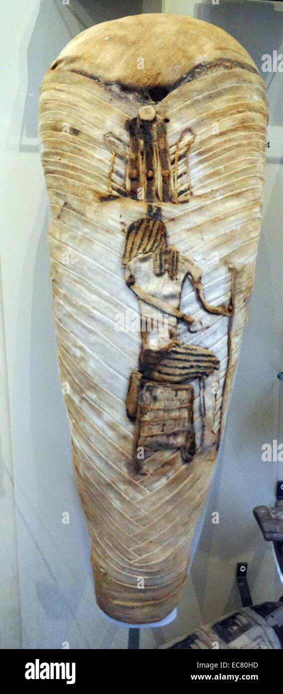 Mumie von einem Ibis verschönert durch die Figur des Thoth mit dem Kopf eines Ibis Vogel. Gefunden Sie ein Stockbild