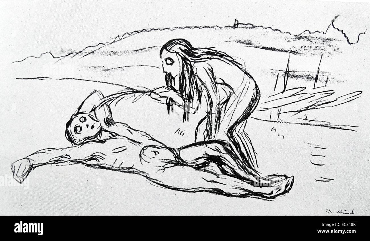 Arbeit mit dem Titel Omega weckt Alfa des norwegischen Künstlers Edvard Munch (1863-1944). Diese Arbeit entstand Stockbild