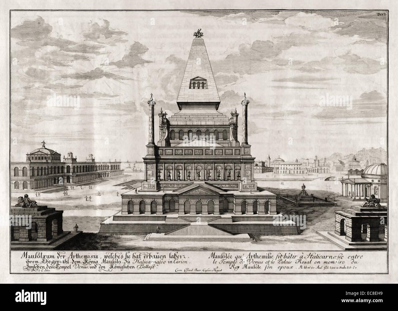 Mausoleum von Halikarnassos, eines der sieben Weltwunder der Antike. Siehe Beschreibung für mehr Informationen. Stockbild