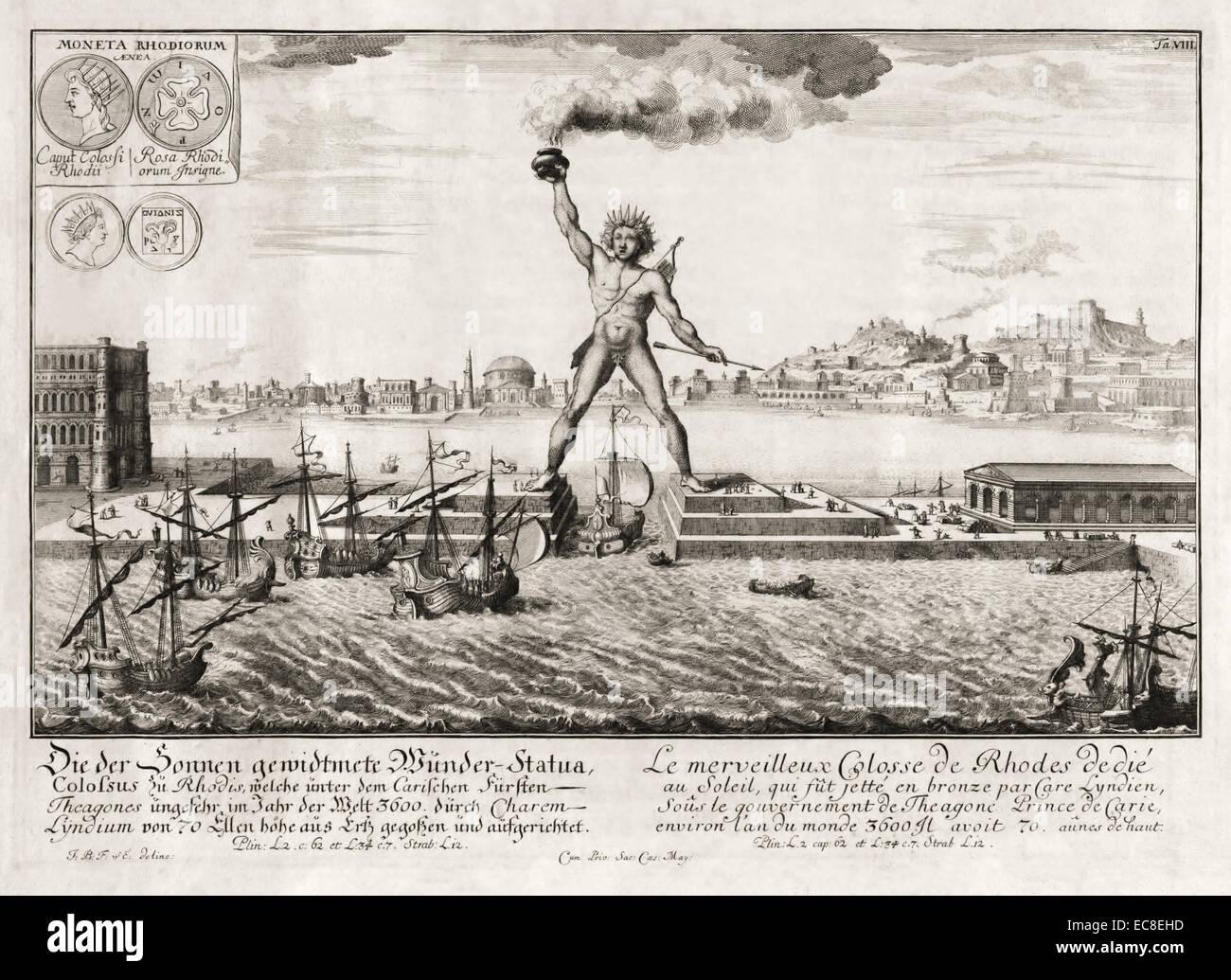 Koloss von Rhodos, eines der sieben Weltwunder der Antike. Siehe Beschreibung für mehr Informationen. Stockbild