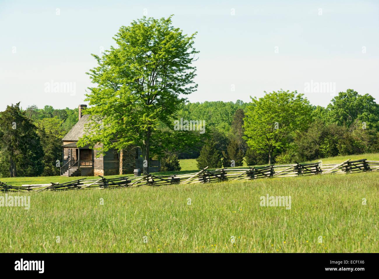 Virginia, Appomattox Court House National Historical Park, Mariah-Wright-Haus, erbaut Mitte-1820 s, Split Zaun Stockbild