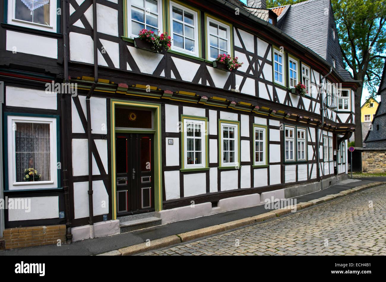 Fachwerkhaus aus Dem Jahr 1719 in der Bergstraße, Altstadt, UNESCO-Weltkulturerbe, Goslar, Harz, Niedersachsen, Stockbild
