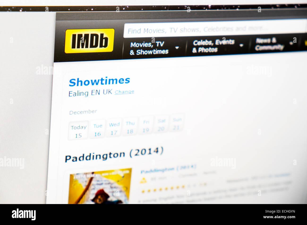 IMDB Internet Datenbank Website Web Filme Computer Bildschirm Kinoprogramm Stockbild