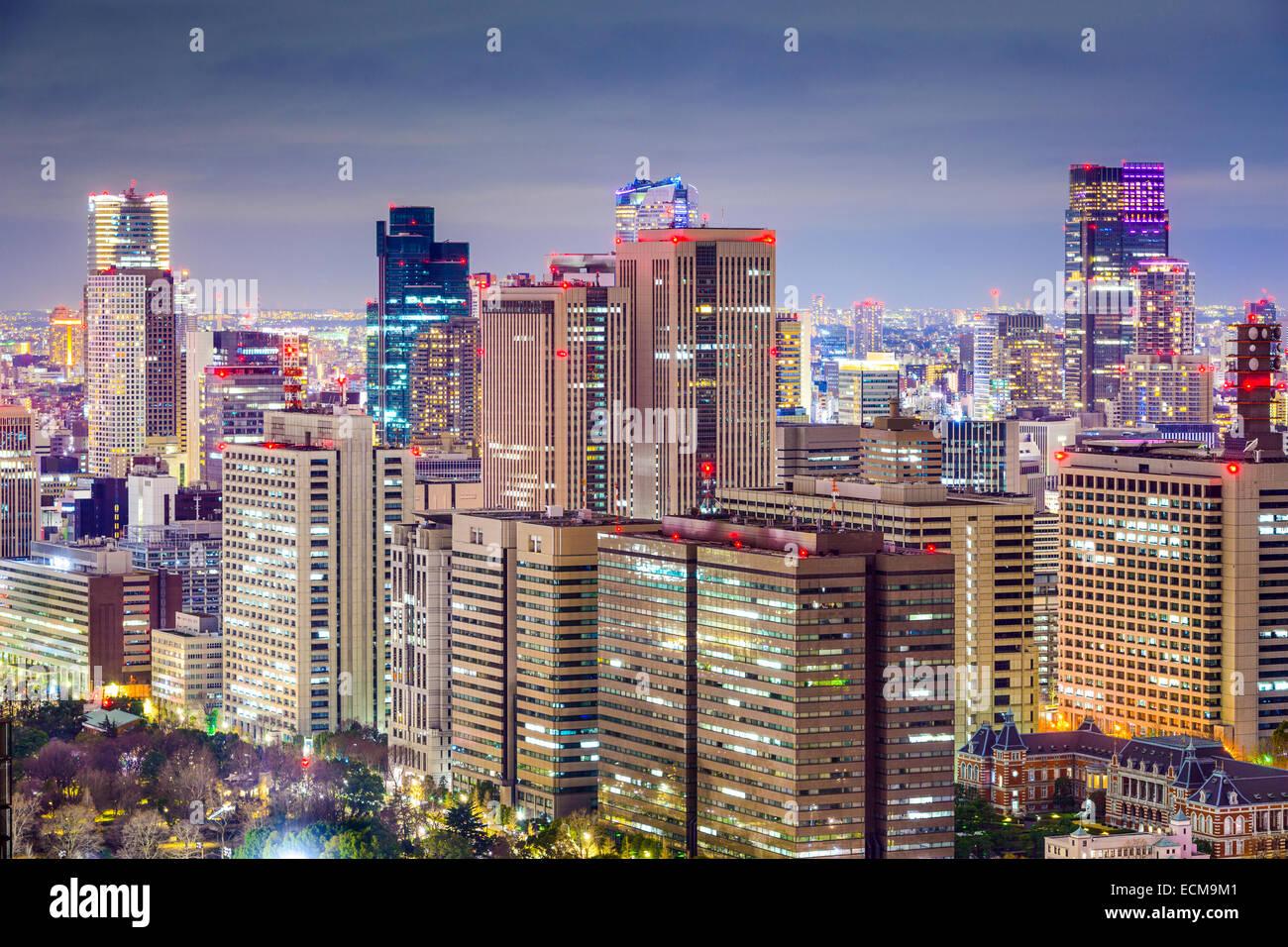 Büro Gebäude Stadtbild im Bezirk Chiyoda, Tokio, Japan. Stockbild