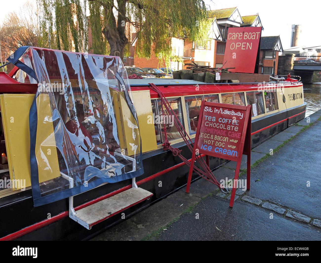 Laden Sie dieses Alamy Stockfoto Kanal Cafe Narrowboat, Chester, Cheshire, England, UK - ECW4GB