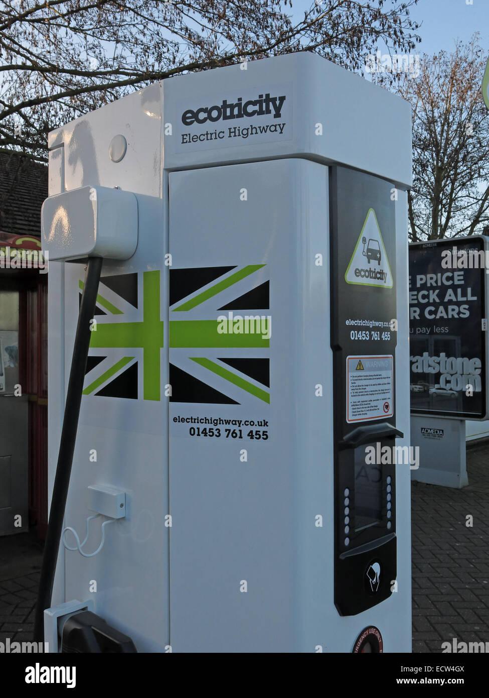 Laden Sie dieses Alamy Stockfoto Ecotricity Elektroauto Ladestation Warwick Dienstleistungen M40, Warwickshire, England UK - ECW4GX