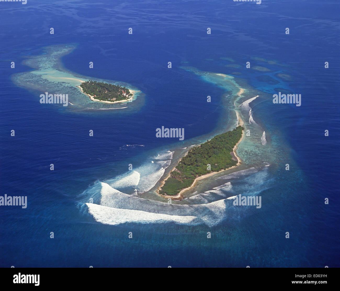 Luftaufnahme von Inseln, Republik Malediven, Kaafu Atoll Stockbild