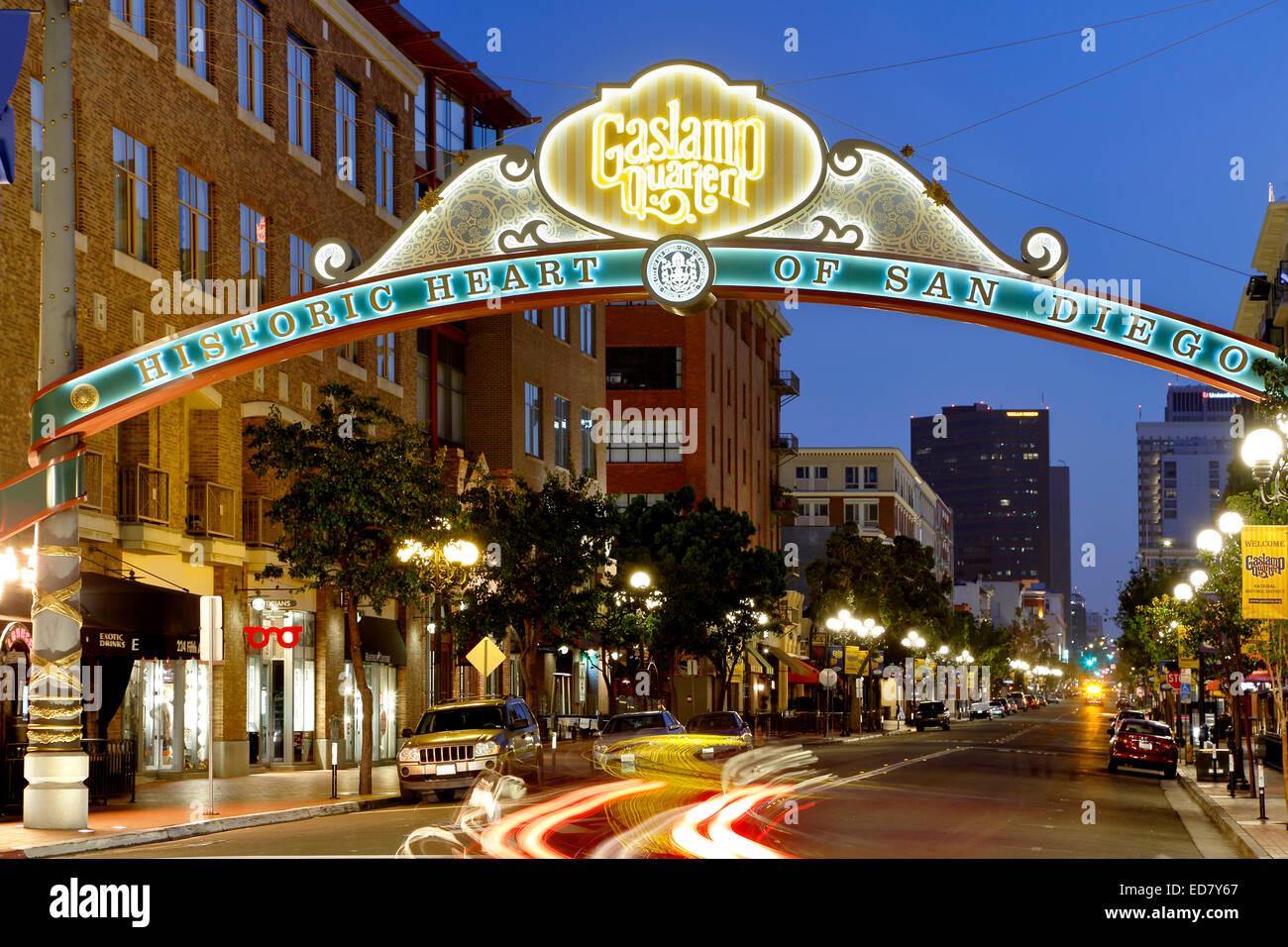 Historischen Gaslamp Quarter, San Diego, Kalifornien USA Stockbild