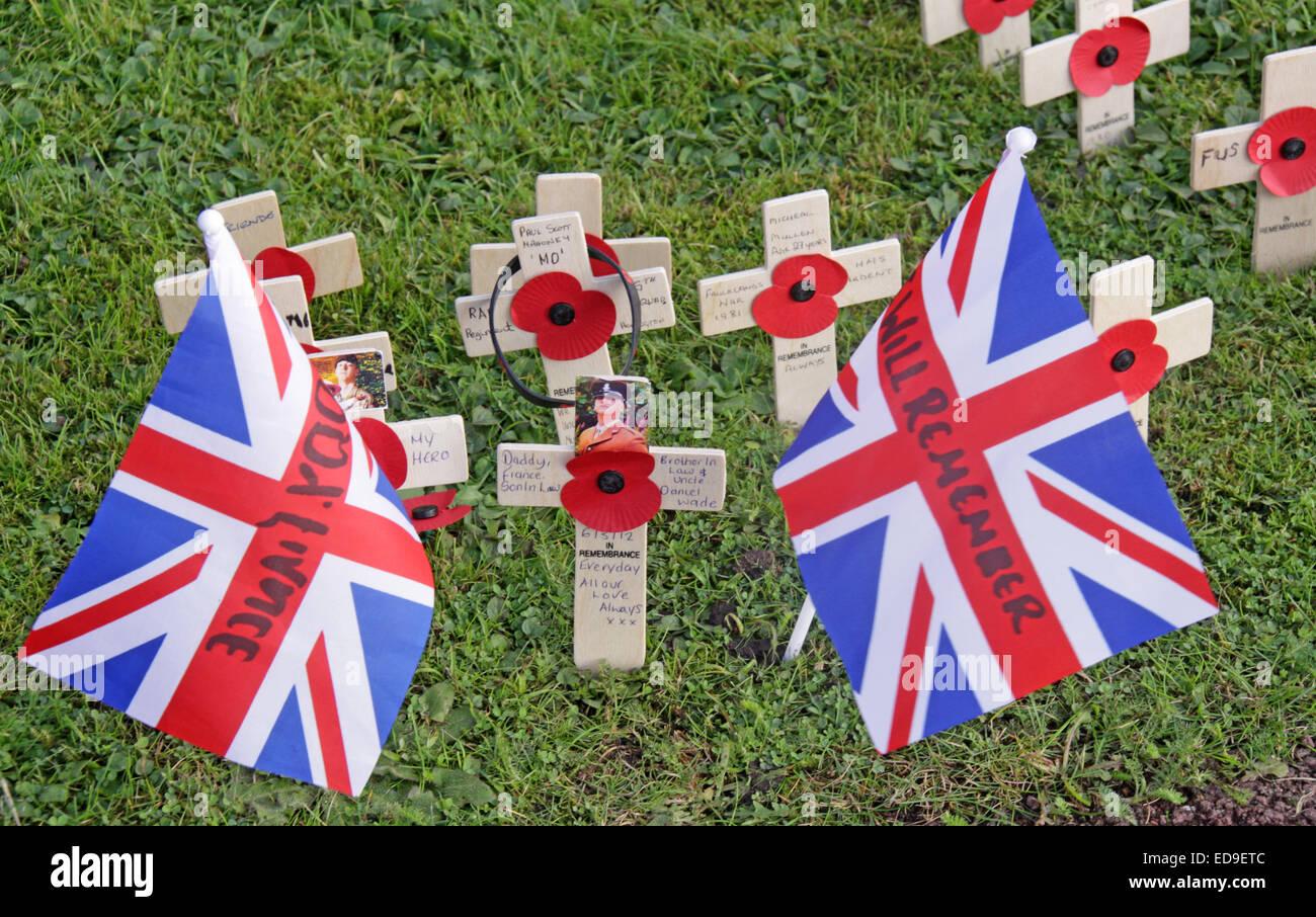 Laden Sie dieses Alamy Stockfoto Gedenktag Flaggen / Mohn Warrington Kenotaph Nov 2014, Bridgefoot, Wilderspool Causeway, Cheshire, England, UK - ED9ETC