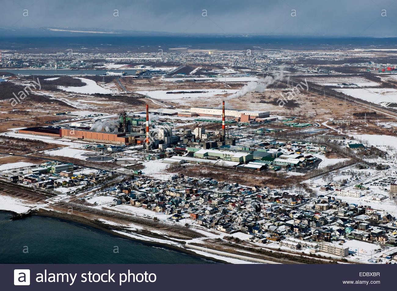 Luftaufnahme von Japan Papierherstellung, Tomakomai Stadt Stockbild