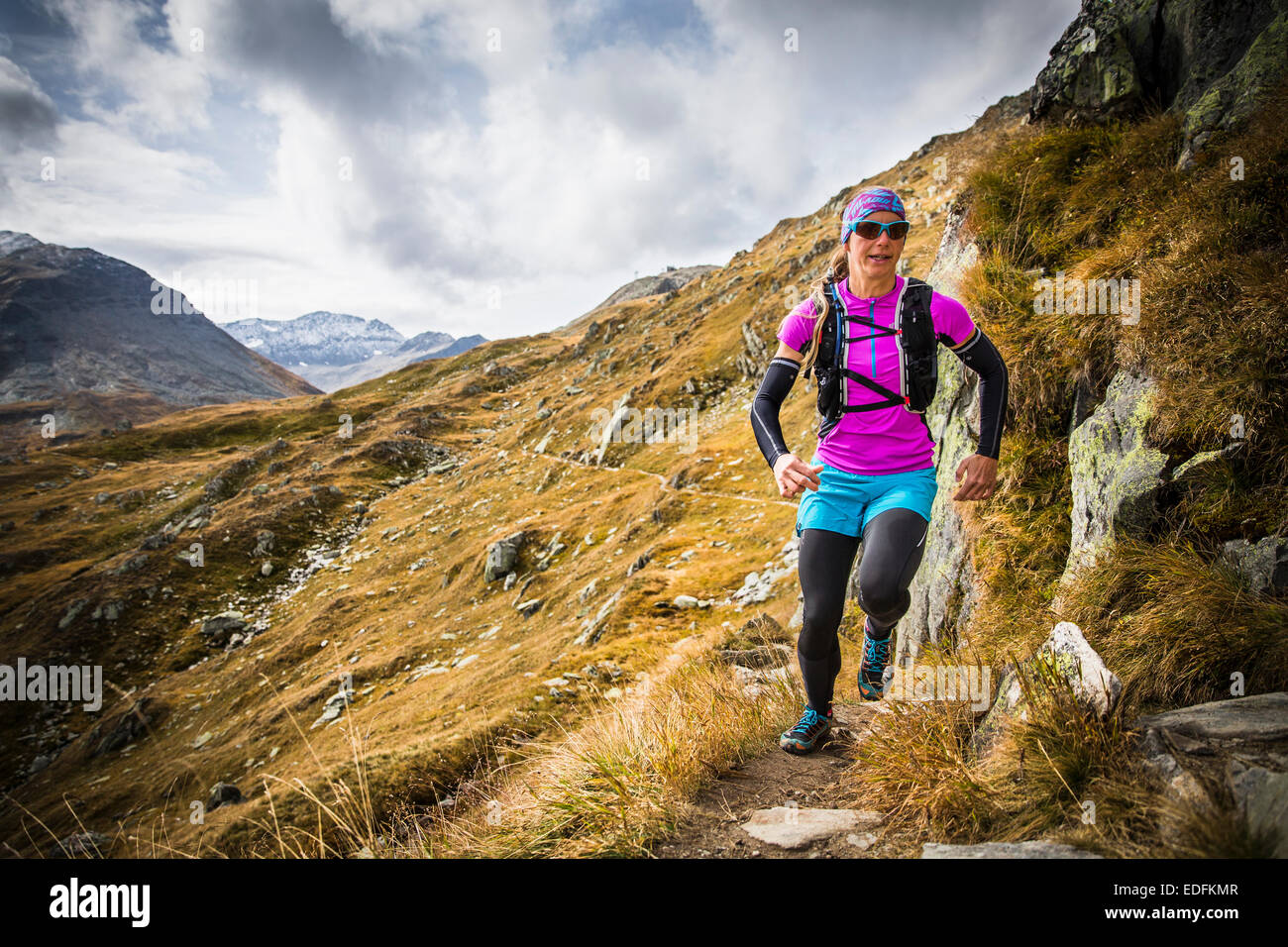 Trail-Running, Furka, Schweiz Stockbild