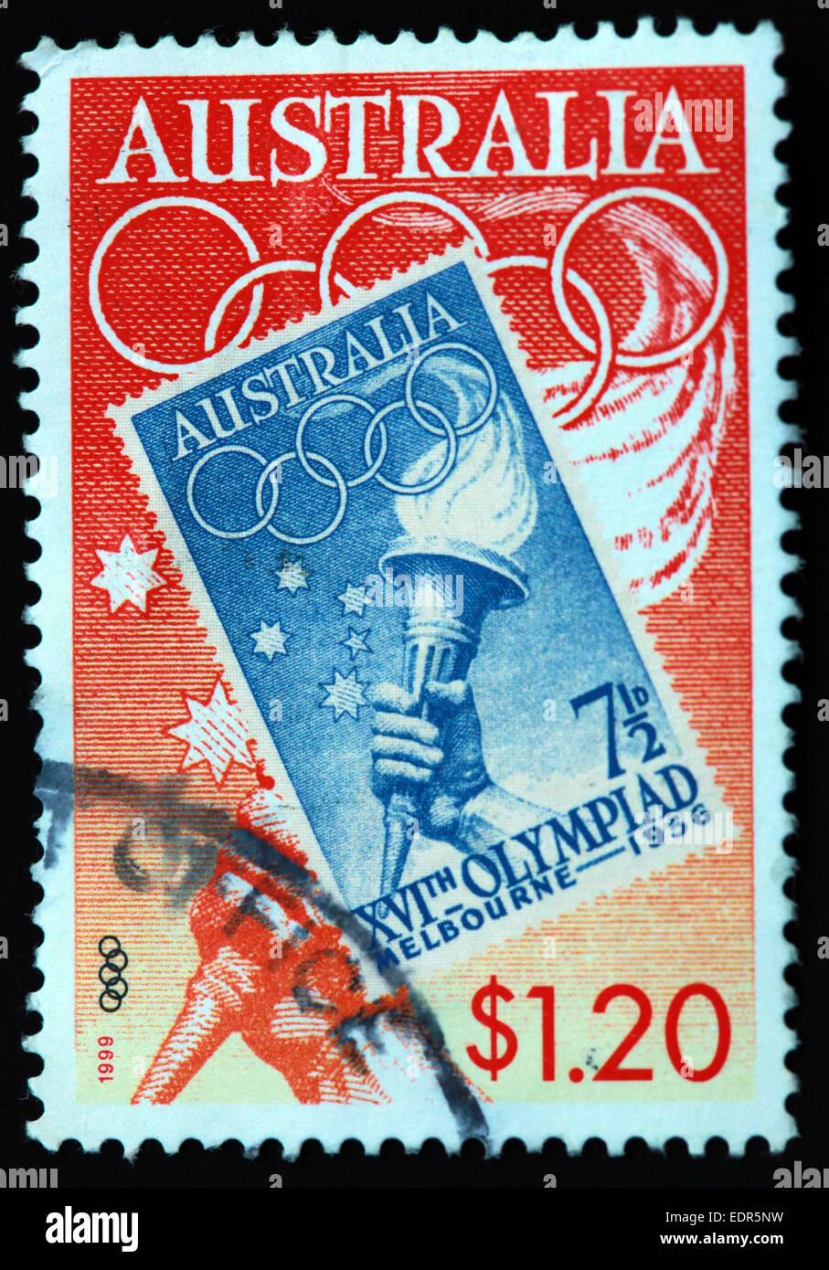 Laden Sie dieses Alamy Stockfoto Verwendet und Poststempel Australien / Melbourne 1956 XVI. Olympiade Austrailian Stempel 1999 $1,20 - EDR5NW