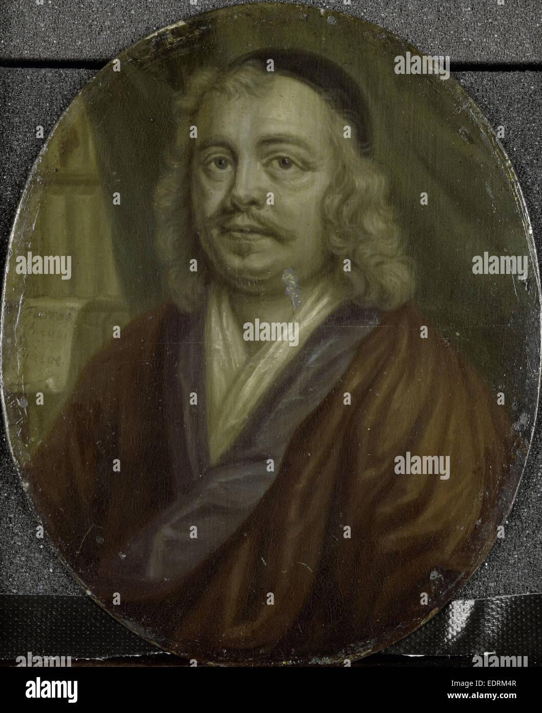 Porträt des Jacob Heiblocq, Rektor der Lateinschule in Amsterdam Niederlande, Arnoud van Halen, 1700-1732 Stockbild