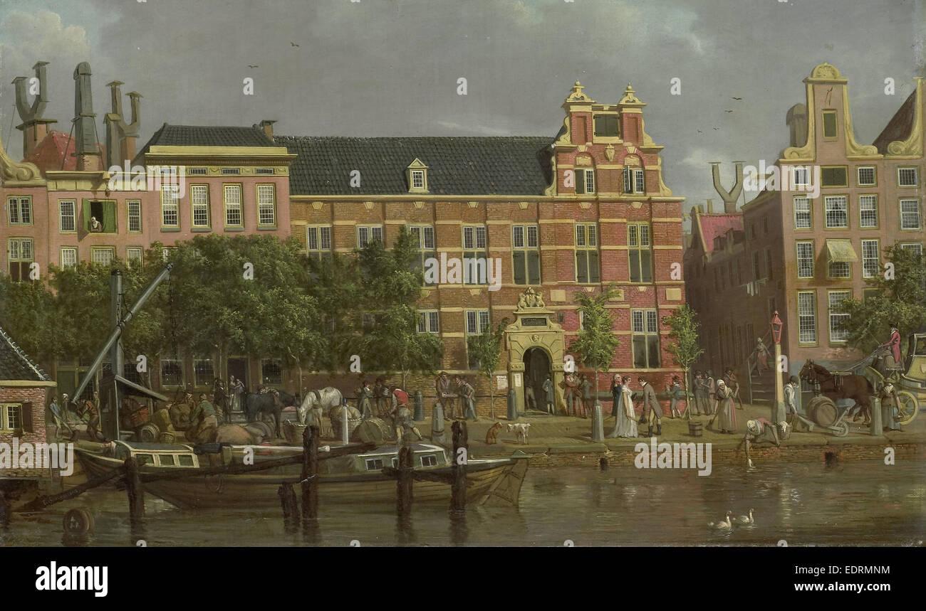 Die Lateinschule auf die Singel, Amsterdam, Jacob Smies, 1802 Stockbild