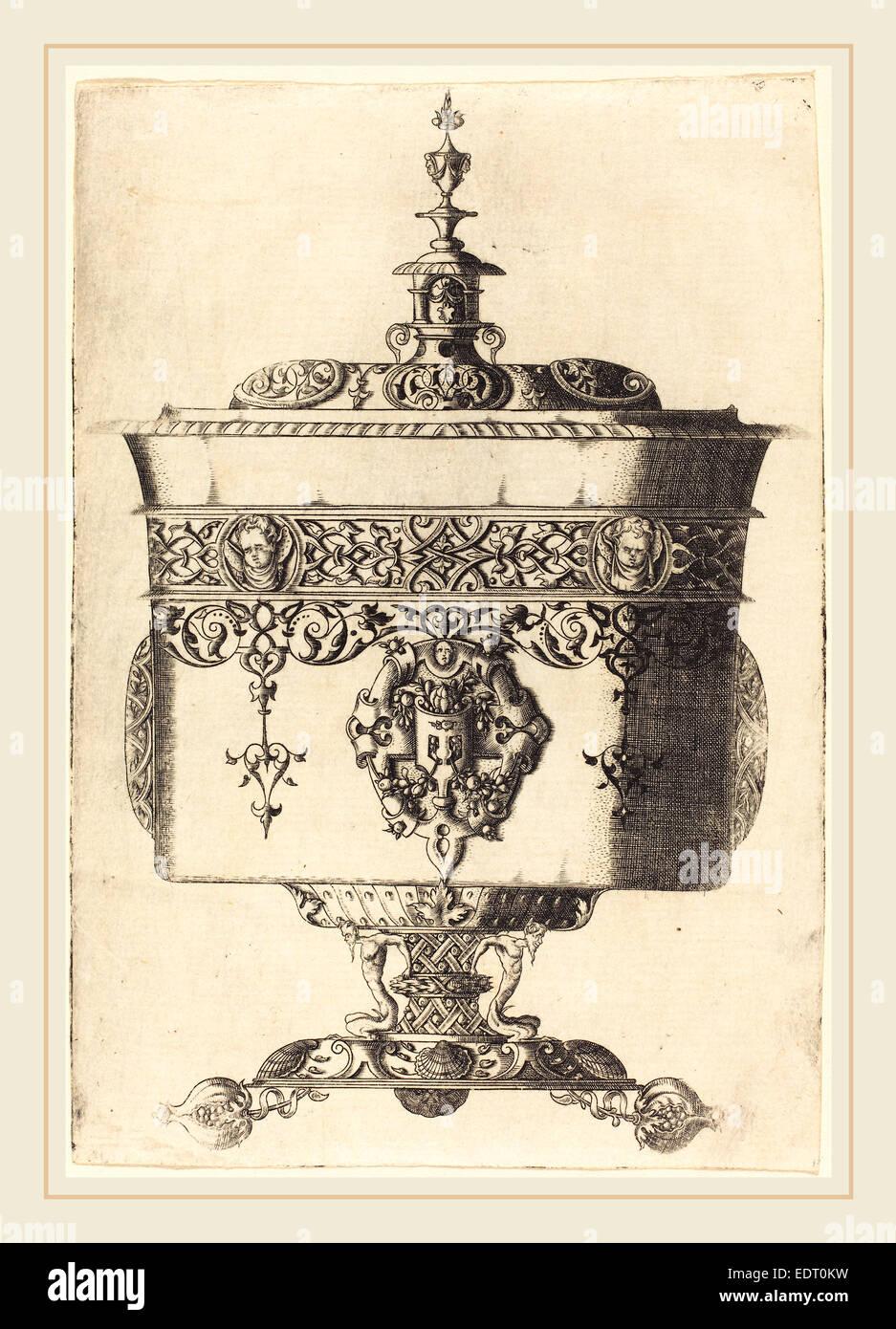 Mathis Zundt (Deutsch, wahrscheinlich 1498-1572), reich verzierte Becher, Radierung Stockbild