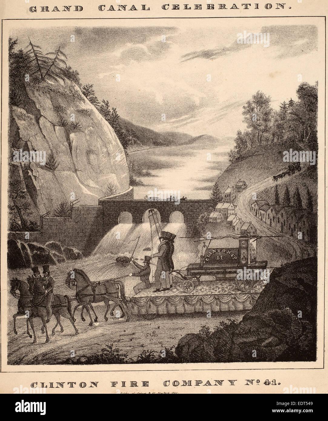 William H. Tuthill, Clinton Fire Company, Nr. 41, amerikanisch, 1826, Lithographie Stockbild