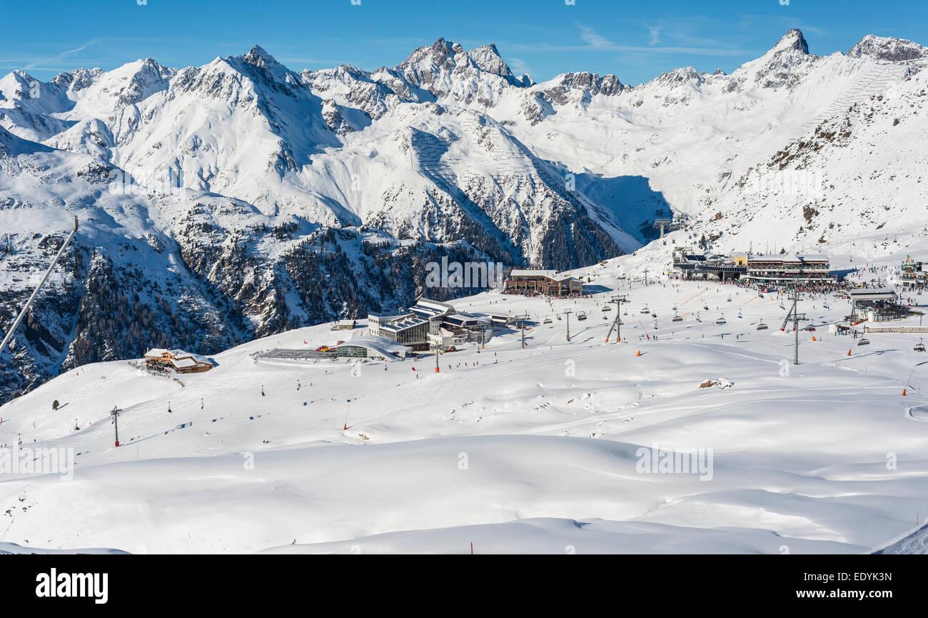 Wintersport-center Idalp, Ischgl, Paznauntal, Silvretta Arena, Tirol, Österreich Stockbild
