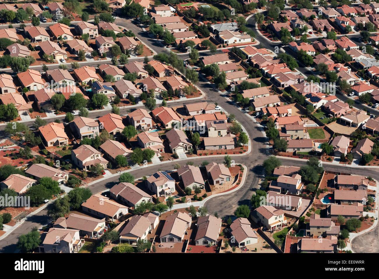 Luftbild des Stadtteils, Tucson, Arizona Stockbild
