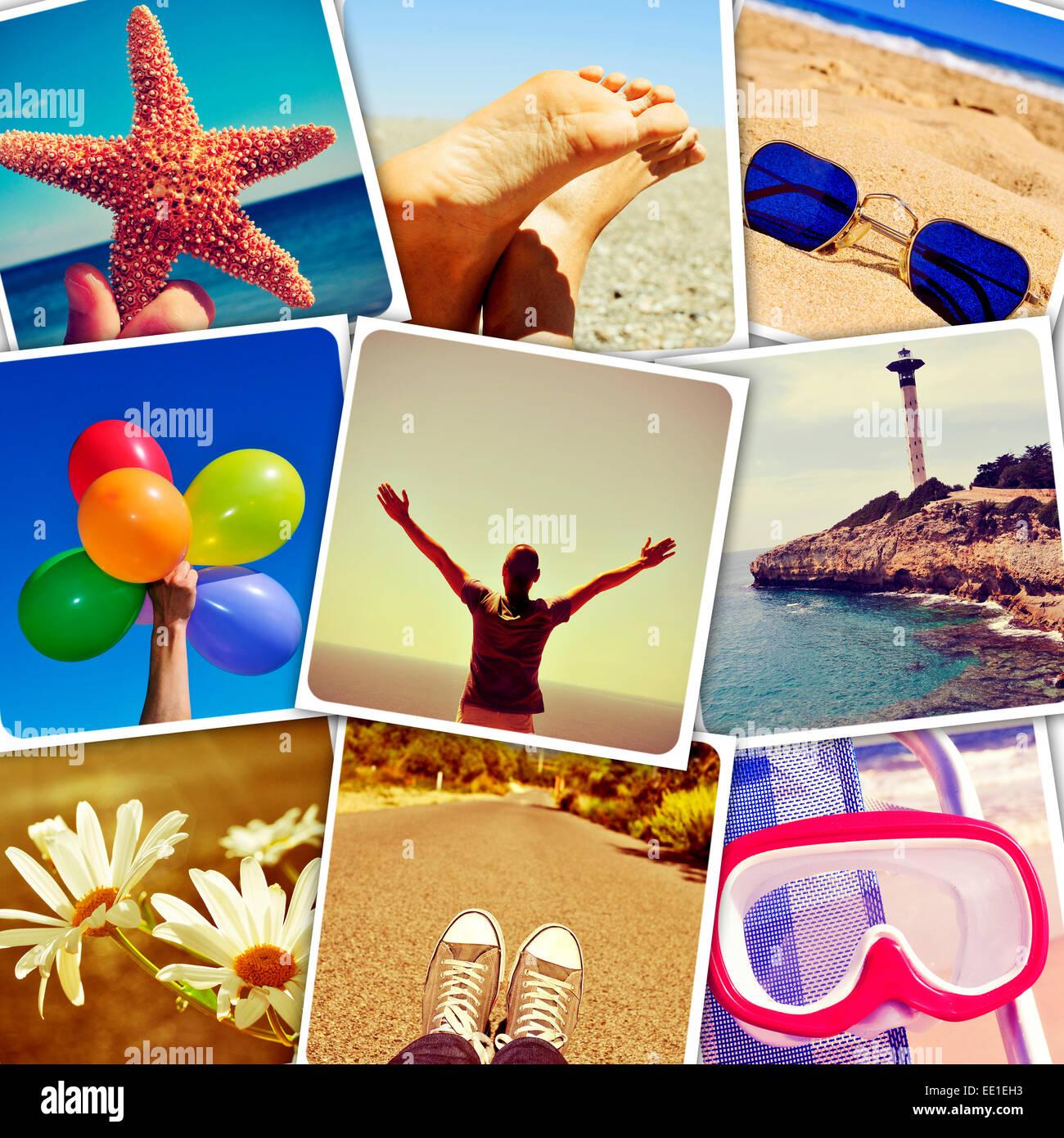Mosaik mit Sommer Bilder, geschossen von mir simuliert eine Wand von Snapshots auf sozialen Netzwerken hochgeladen Stockbild