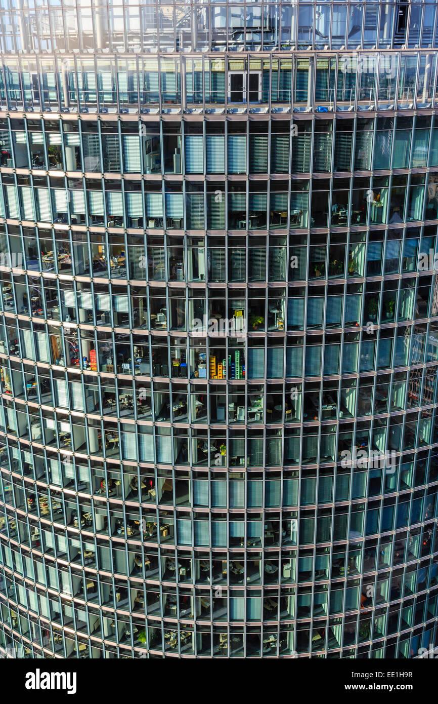 Erhöhten anzeigen, Sony Center Deutsche Bahn Büros vom Panoramapunkt, Kollhoff Building, Potsdamer Platz, Stockbild