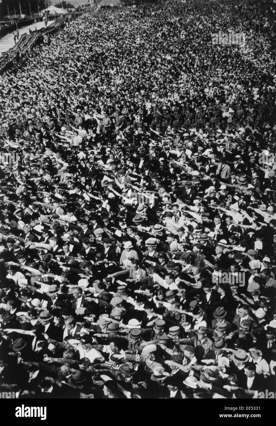 Demonstration vor der Wiedereingliederung des Saarlands mit Deutschland, August 1934 Stockbild