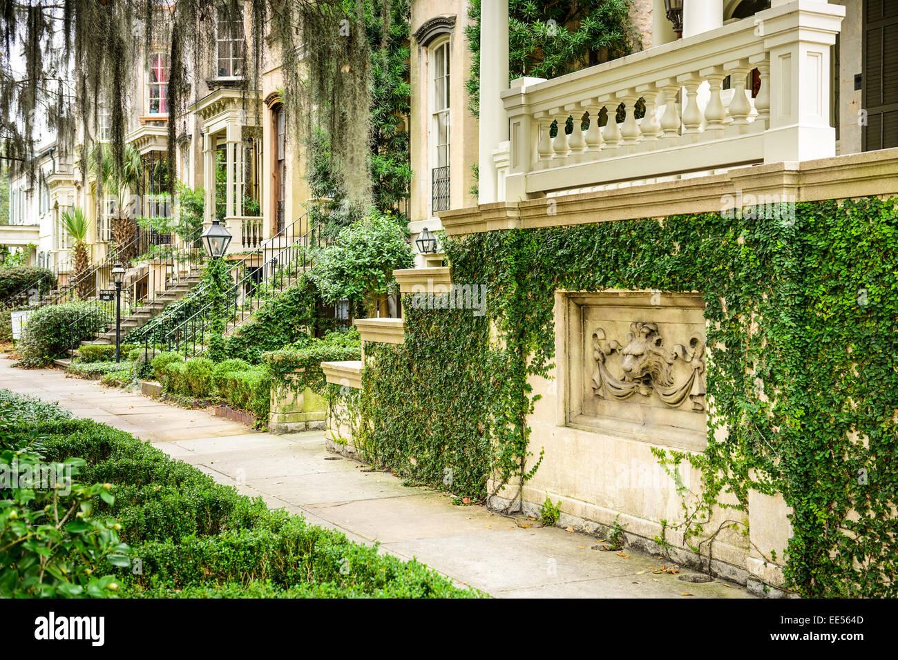 Straßenszene in Savannah, Georgia, USA. Stockbild