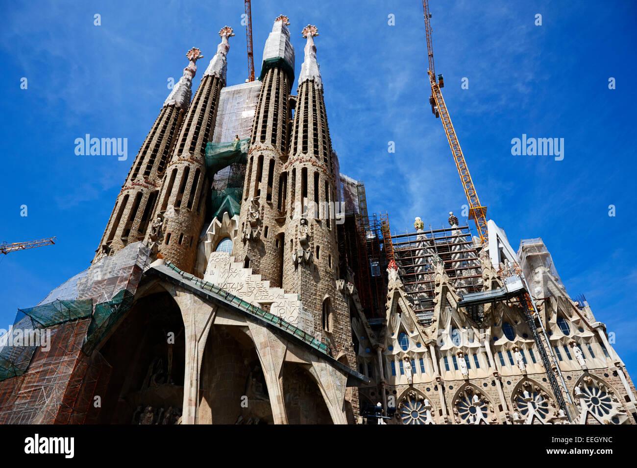 die Leidenschaft Fassade der Sagrada Familia Barcelona Katalonien Spanien Stockbild