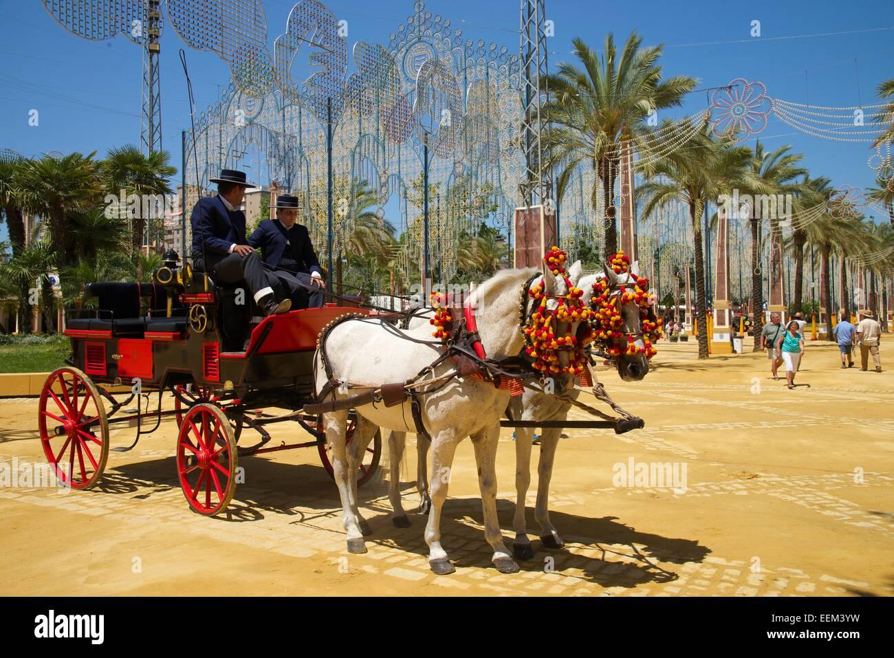 Coach bei der Feria del Caballo in Jerez De La Frontera, Andalusien, Spanien Stockbild