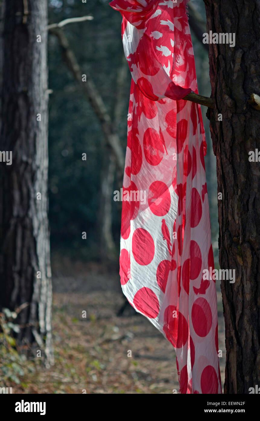 Roter Schal Baum hängen Stockbild