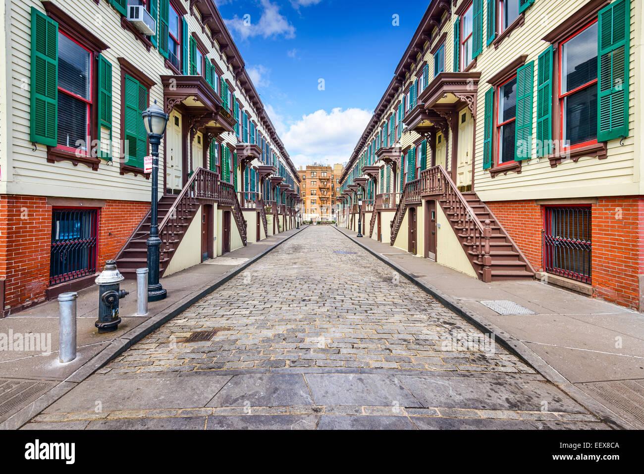 New York City, USA bei Reihenhäuser im Jumel Terrasse Historic District. Stockbild