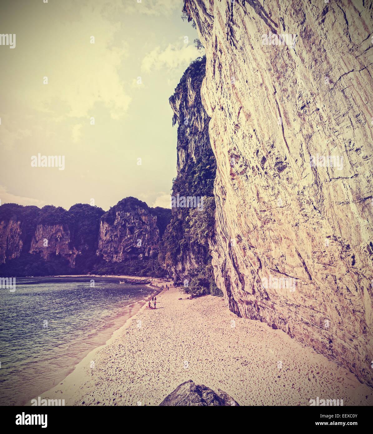 Retro Vintage gefilterten Bild von einem Felsen-Strand. Stockbild